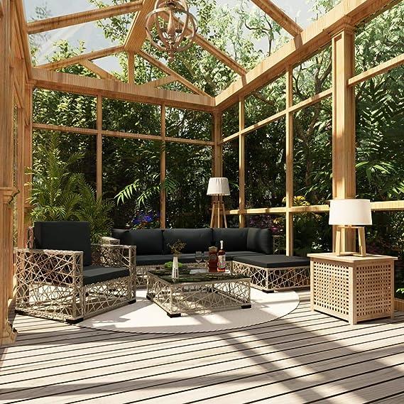 UnfadeMemory Set de Sofás de Jardín con Cojines y Diseño de Tejido ...