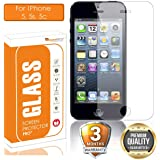 OpenTech® Tempered Glass Screen Protector for Apple iPhone 5 / 5s / 5c with Installation kit (2.5 D and Full Transparent)