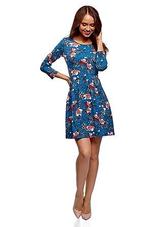 oodji Ultra Mujer Vestido de Punto Entallado, Azul, ES 34 / XXS ...