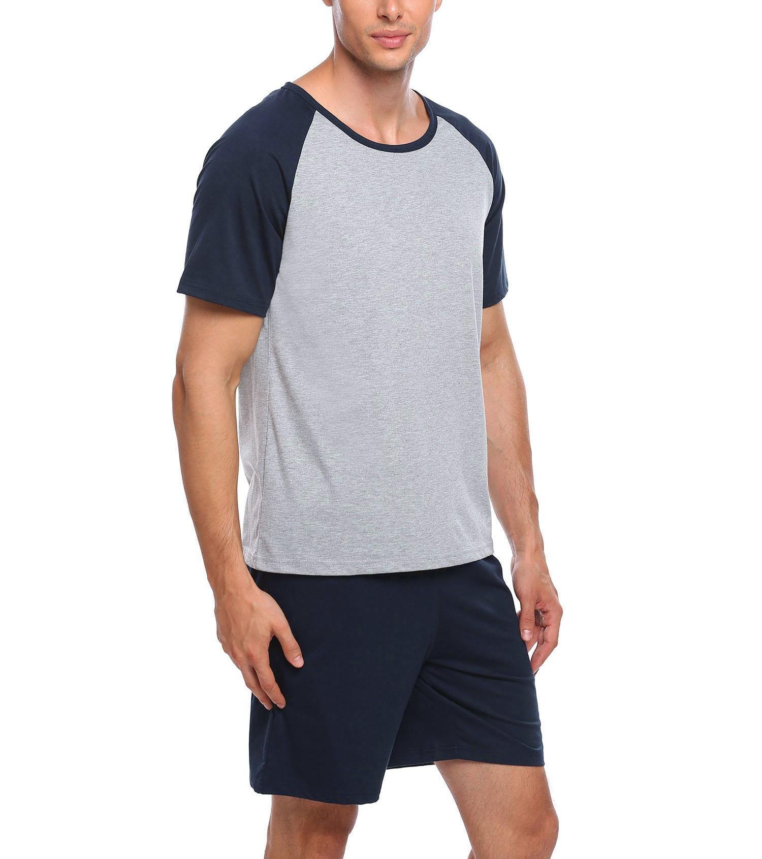 Zouvo Mens O-Neck Pajamas Sets Short-Sleeve Top with Shorts Loungewear(Dark Blue, X-Large)
