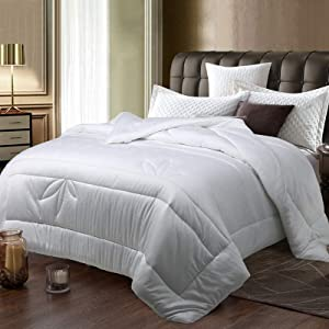 """EDILLY All Season Soft Quilted Down Alternative Comforter Hotel Collection Reversible Duvet Insert with Corner Tabs,Fluffy Hypoallergenic White Full Size Comforter for Summer, 82''x 86"""",Bamboo Fiber"""