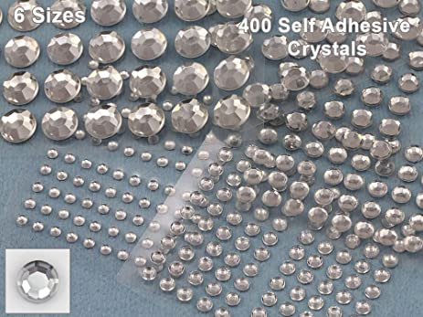 Assorted sizes crystal self adhesive rhinestones in bulk stick on crystal gems clear jewels stickers