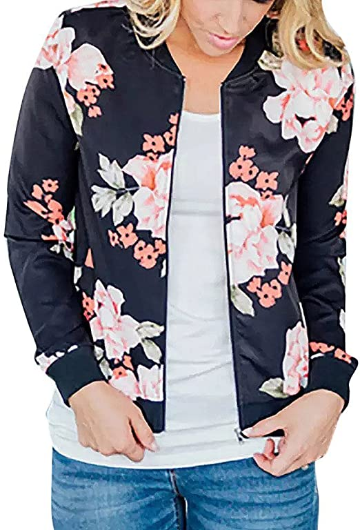 New Womens Ladies Printed Casual Bomber Jacket  Zip Up Biker Outwear Coat