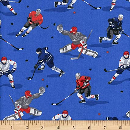 Sport Ice Hockey Goalie Player Dark Blue Cotton Fabric QT Face Off By The Yard