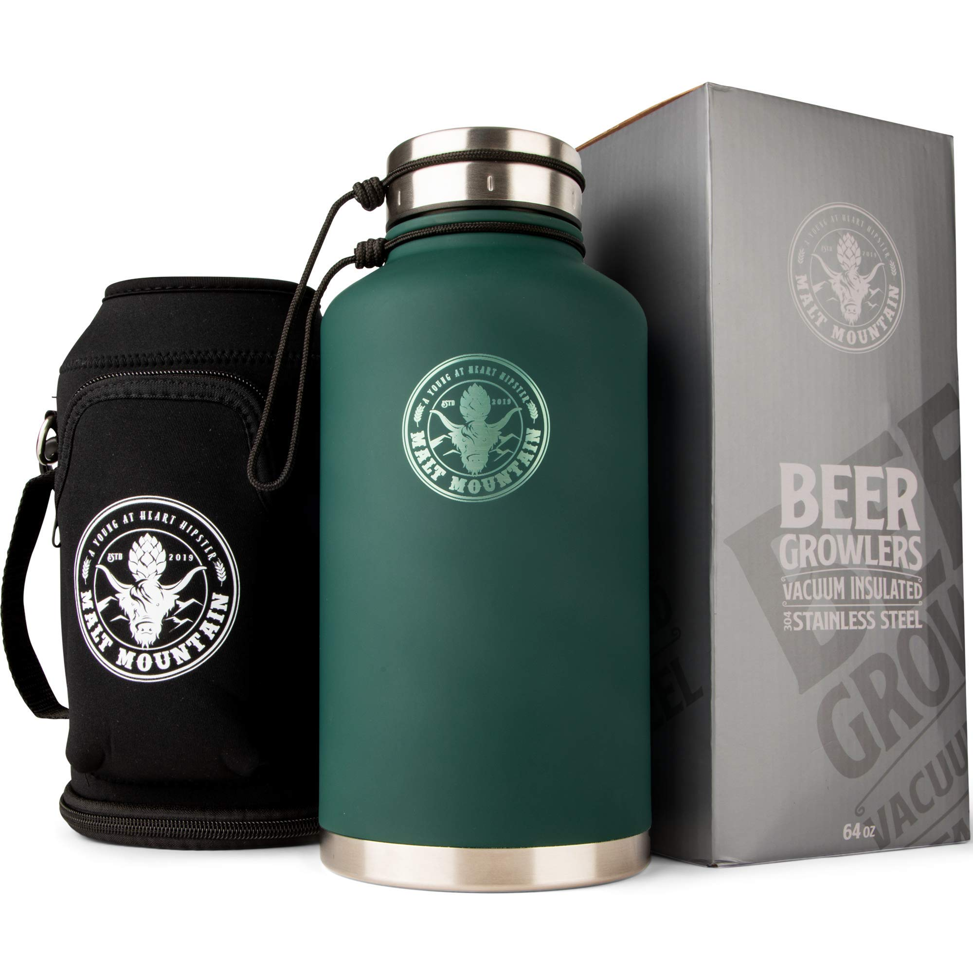 Malt Mountain Insulated Beer Growler, 64 oz, Double-Wall Stainless Steel, with Travel Bag - Vacuum Sealed Growlers for Cold Beer - 48 Hour Temperature and Carbonation - Drink Canister Jugs for Camping