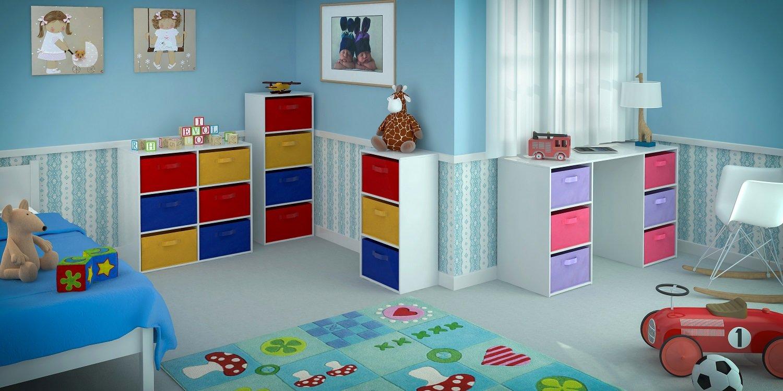 Kids Desk With Storage Home Source Kids Desk Toy Storage 6 Canvas Drawers For Childrens