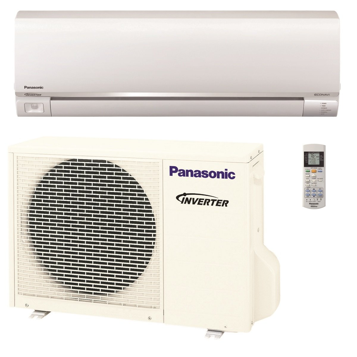 Panasonic Exterios E 12,000 BTU Ductless Mini Split Air Conditioning and Heating System, Indoor and Outdoor Set with Wireless Remote(208/230V)
