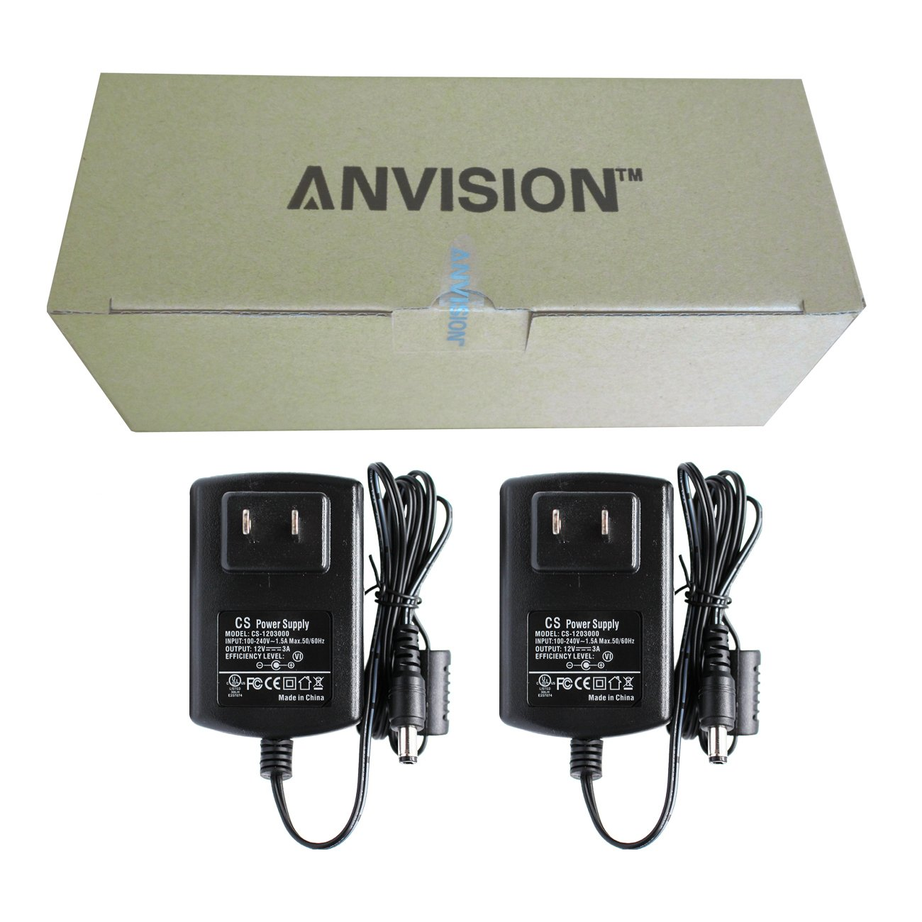 ANVISION 2-Packs AC to DC 12V 3A 36W Power Supply Adapter 5.5x2.1mm for Led Light Strips DVR CCTV Camera UL Listed FCC RoHS Efficiency Level VI