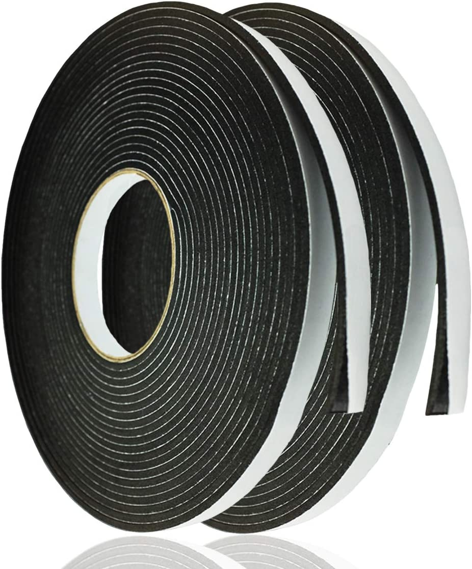 Adhesive Foam Tape Weather Strip for Doors Sticky Foam Strip Insulation Soundproofing Tape Single Sided Closed Cell Foam Tape 1/8 Inch Thick x 1/2 Inch Wide,2 Rolls