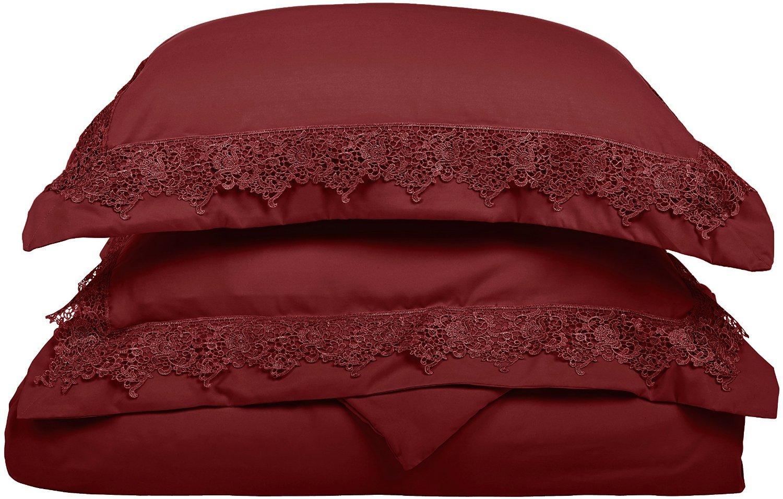 (King/California King, Burgundy/Burgundy) LUXOR TREASURES Super Soft Light Weight, 100% Brushed Microfiber, King/California King, Wrinkle Resistant, Burgundy Duvet Set with Regal Lace Pillowshams in Gift Box B00QILWXSW King/California King|バーガンディー/バーガンディー バーガンディー/バーガンディー King/California King