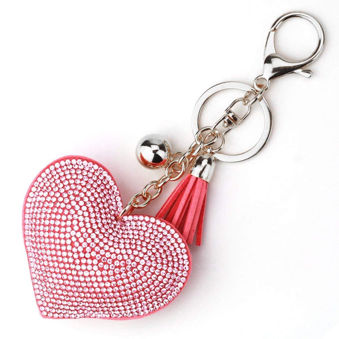 MqbY Romantic Design Love Heart Keychain Women Rhinestone Beads Key Ring Handbag Pendant Long Tassel Keyring Jewelry White /& Black