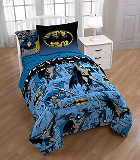 Dc Comics Batman Comforter 5 Piece Twin Bed Set With Bonus Tote
