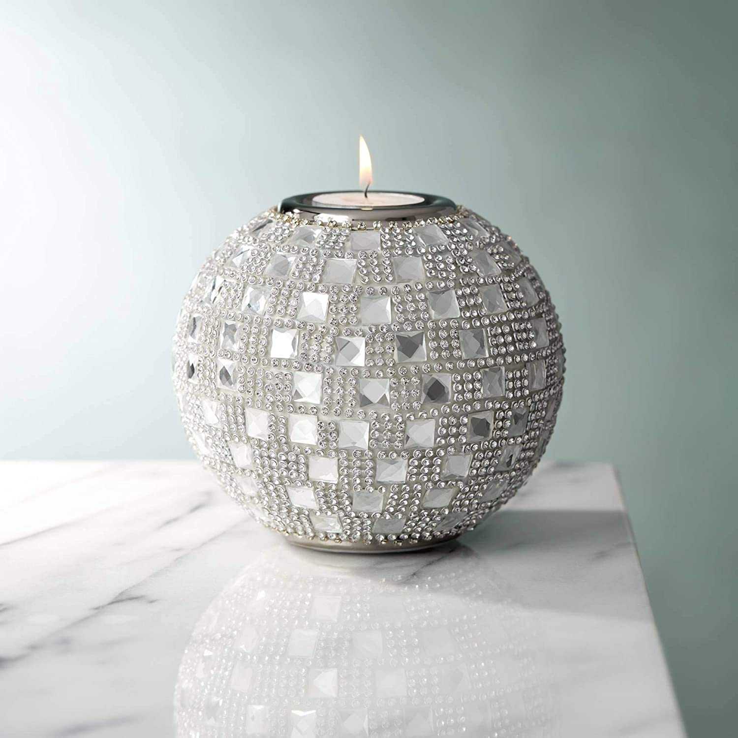 "Dahlia Studios Candelo 4 1/4"" High Crystal Beaded Tealight Candle Holder"