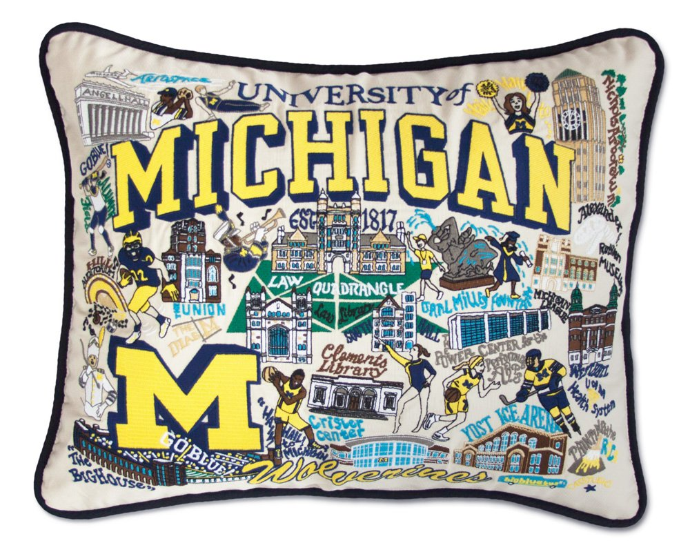MICHIGAN, UNIVERSITY OF COLLEGIATE EMBROIDERED PILLOW - CATSTUDIO by Catstudio