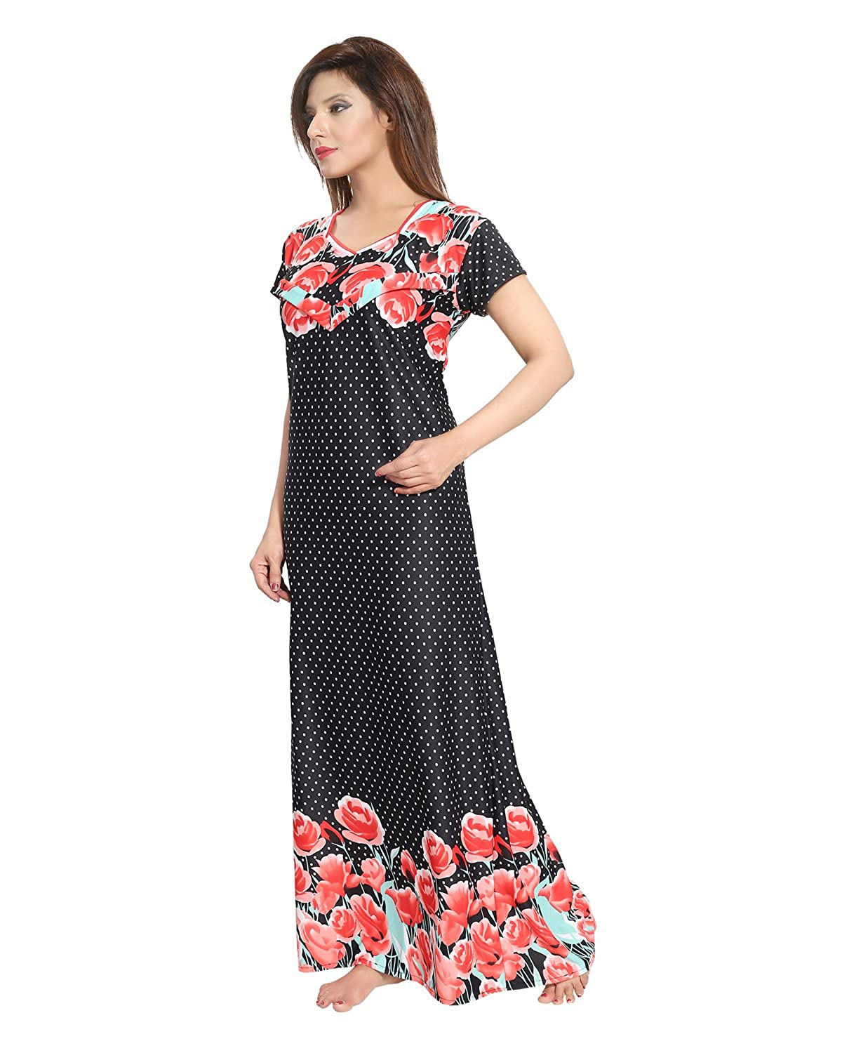 978db76461521 Be You Black Serena Satin Printed Women's Feeding/Maternity Gowns at Amazon  Women's Clothing store: