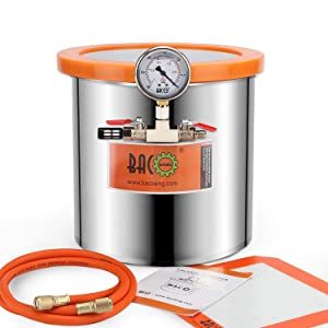 BACOENG 3 Gallon Tempered Glass Lid Stainless Steel Vacuum Chamber Perfect for Stabilizing Wood, Degassing Silicones, Epoxies and Essential Oils