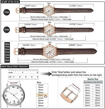 WOCCI Correa Reloj Piel Vintage para Mujer Hombre Relojes de Pulsera 14mm 16mm 18mm 19mm 20 mm 21mm 22mm 23mm 24mm