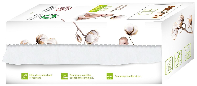 BOCOTON BIO Pack de 50 Lingettes Sèches en Rouleau pour Bébé Bio - Lot de 6 H39921B
