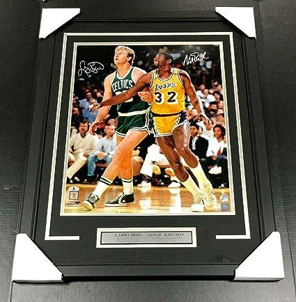 c8bb972eaaf Larry Bird Magic Johnson Autographed 16x20 Framed Photo Celtics Lakers -  JSA Certified - Autographed NBA