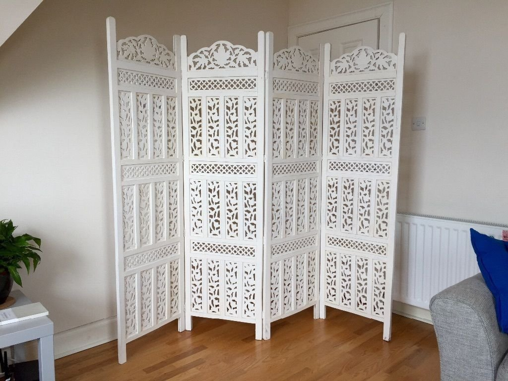 Artesia Handcrafted 4 Panel White Wooden Room Partition/Divider