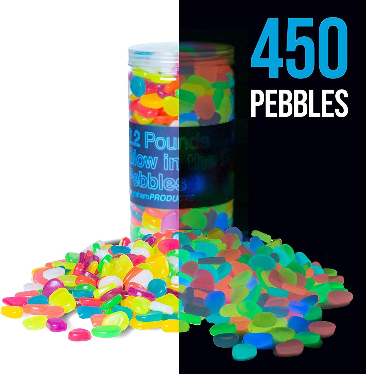 Graham Products 450 pcs, 2.2 lbs Glow in The Dark Pebbles (Multicolor) - Indoor Outdoor Zen Garden Stones, Moonlight Yard Plant Decorations, Fish Tank Aquarium Rocks, Solar Backyard LED Patio Decor