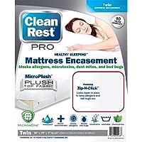 CleanRest Pro Bed Bug Blocking Mattress Encasement Featuring Zip-N-Click & MicroPlush Top