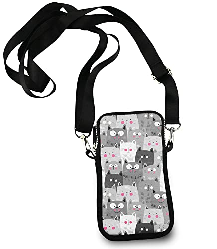 472f8d488180 Image Unavailable. Image not available for. Color  Cell Phone Purse Small  Crossbody Bag Smartphone Wallet Phone Holder For Women Girls (Grey Cat