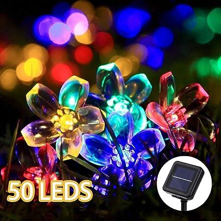 50 LED Solar String Lights Flower Shape Garden Waterproof Fairy Walkway Lights