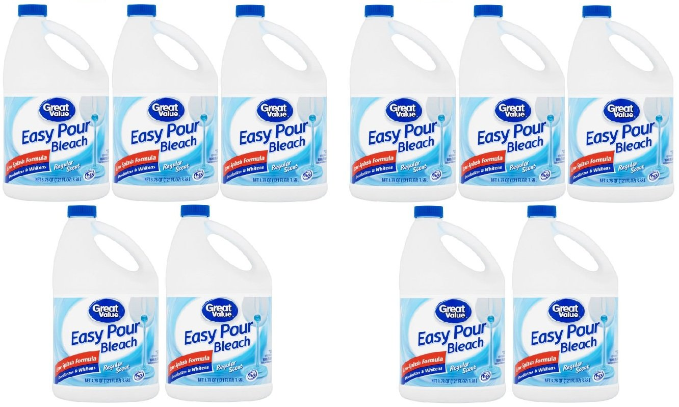 Great Value Easy Pour Bleach, Regular Scent, 121 fl oz - Pack of 10 by Great Value (Image #1)