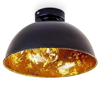 Deckenleuchte Nome Aus Metall Schwarz Gold Runde Zimmerlampe Fur