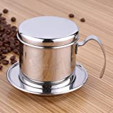 Coffee Percolator, Stainless Steel Vietnamese Coffee Maker Pot Coffee Drip Filters, Single Cup Coffee Drip Pot Brewer - Portable, Reusable Paperless Pour Over for Home Kitchen Office Outdoor Use
