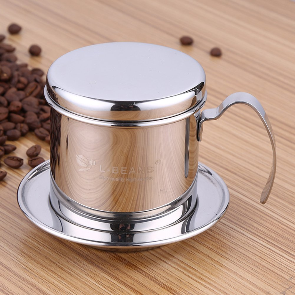 Coffee Percolator, Stainless Steel Vietnamese Coffee Maker Pot Coffee Drip Filters, Single Cup Coffee Drip Pot Brewer - Portable, Reusable Paperless Pour Over for Home Kitchen Office Outdoor Use Eleoption