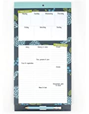 Boxclever Press Menu & Shopping Magnetic Fridge List. A Magnetic Notepad with Shopping List pad and Weekly menu Planner with a Clip-on Pencil and Pocket for Receipts and vouchers (Grey)