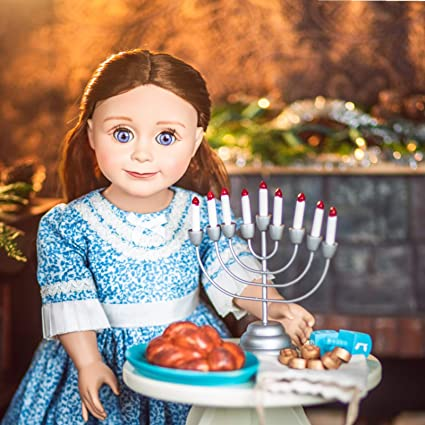 18 Inch Doll 21 Pc Hanukkah Accessory Play Set Menorah /& More fits American Girl