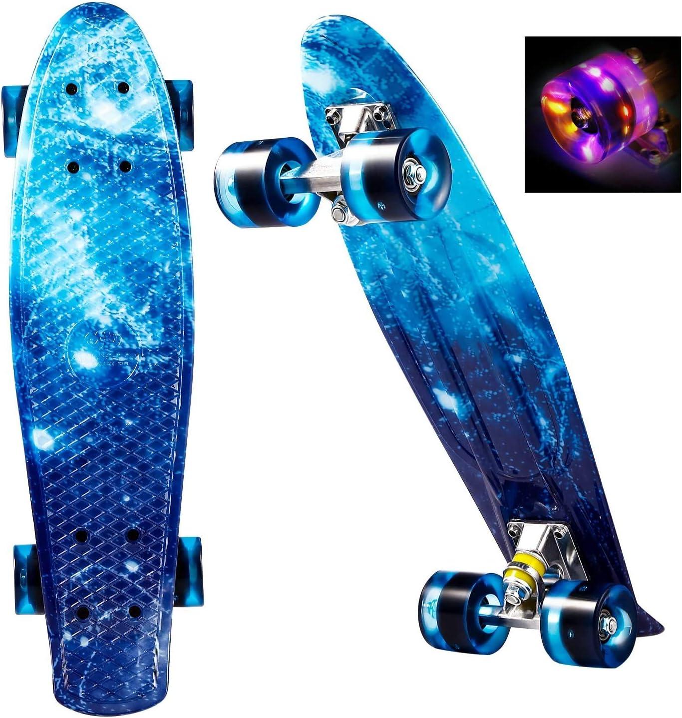 WeSkate Mini Cruiser Skateboard tabla completa retro 22 55 cm tabla de skate vintage con borde de pl/ástico Cruiser tabla con PU rueda flash rodamientos ABEC-7 para adultos ni/ños ni/ños ni/ños ni/ñas