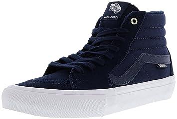 23f3d161939 Vans Men s Sk8-Hi Pro Navy White Ankle-High Canvas Skateboarding Shoe -