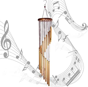 Bina Wind Chimes Outdoor Wind Chime Solid Wood and 18 Scrub Aluminum Alloy Gold Tubes Wind Chime 36 inches Large Garden Wind Chime for Party, Garden, Home,Decor, Gift (Golden)