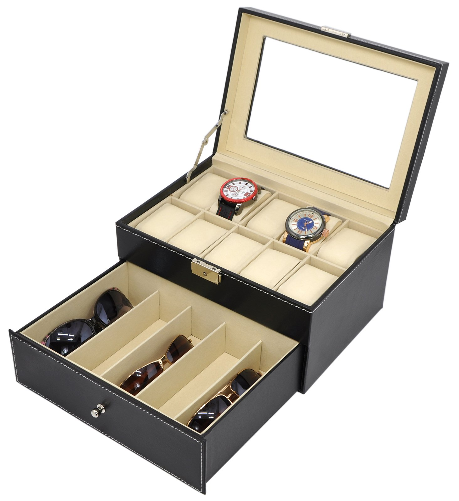 Holding 5 Glasses and 10 Watches, Sunglasses Case Watch Glasses Eyewear Box Accessories Organizer