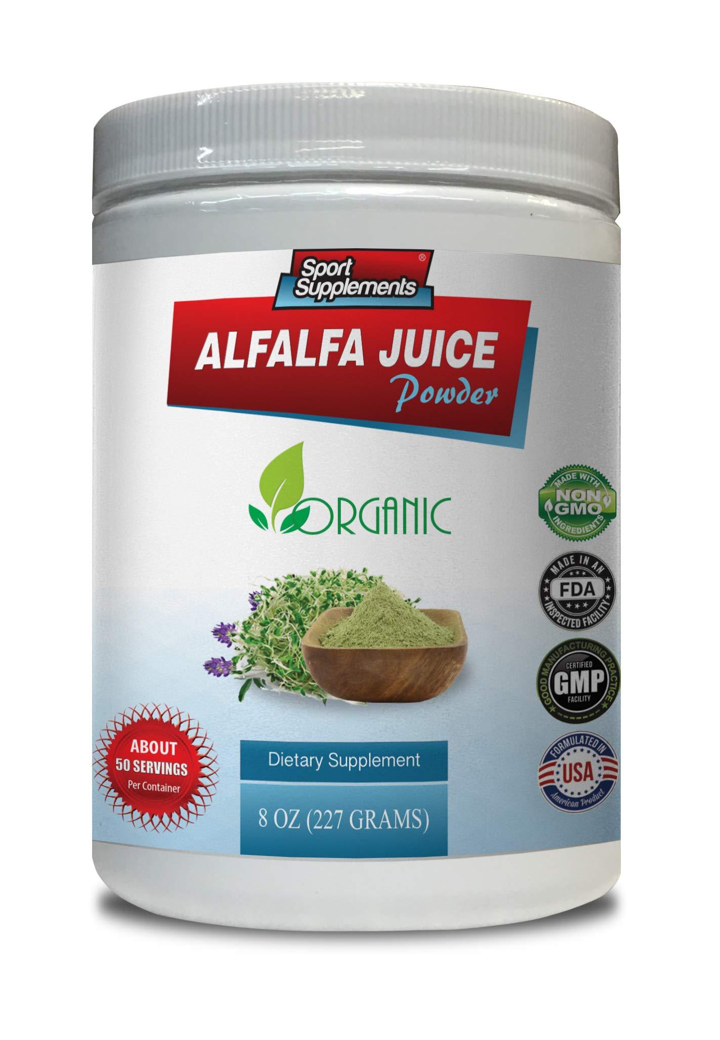 Organic antioxidant Powder - Alfalfa Juice Powder - Organic Dietary Supplement - Alfalfa Leaf Powder - 1 Can 8 OZ (50 Servings)