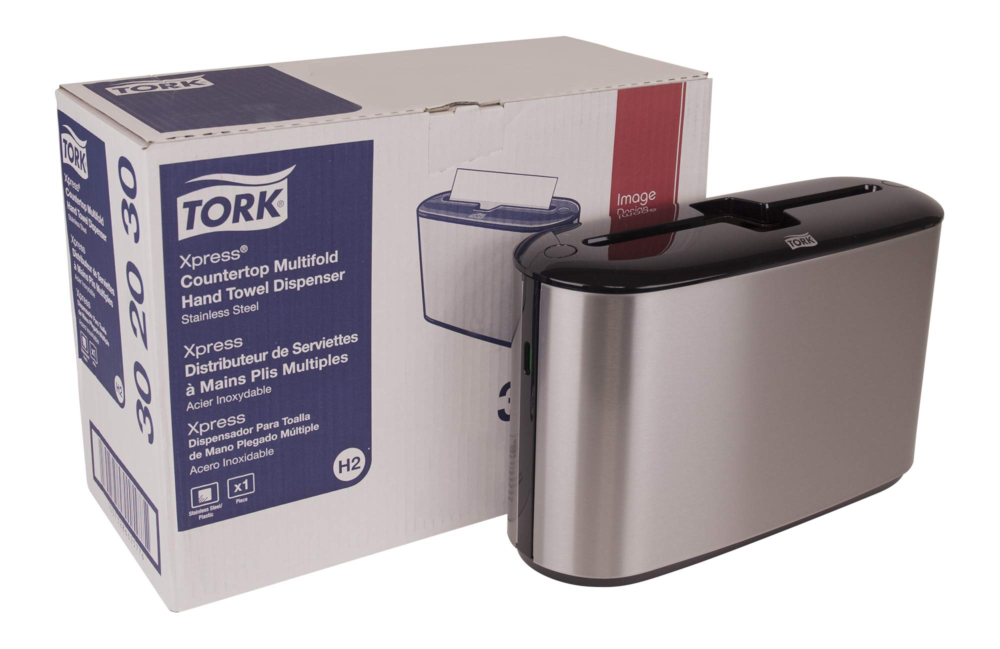 Tork 302030 Xpress Countertop Multifold Hand Towel Dispenser, Plastic, 7.92'' Height x 12.68'' Width x 4.56'' Depth, Stainless Steel, Use with Tork MB550A, MB640, MB540A, H2/H23 by Tork