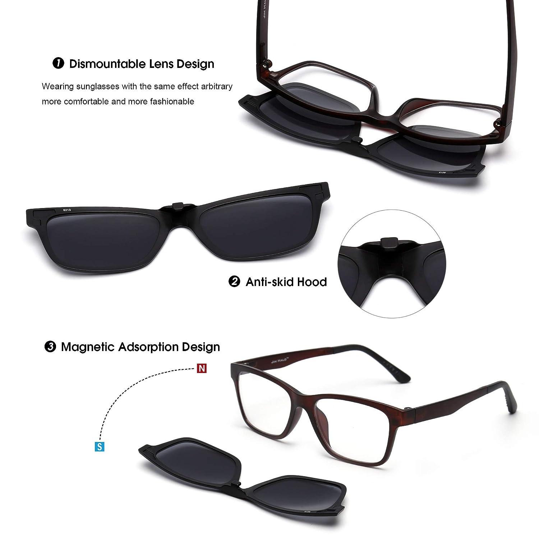 Jim Halo Gafas de Sol Retro Polarizadas Magnético Clip en TR Anteojos Marco Hombre Mujer