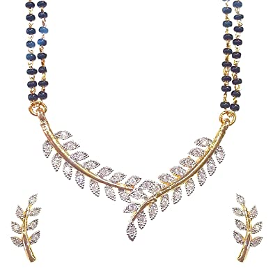 Buy aabhu american diamond leaf design mangalsutra pendant necklace aabhu american diamond leaf design mangalsutra pendant necklace set with earring and chain for women aloadofball Gallery