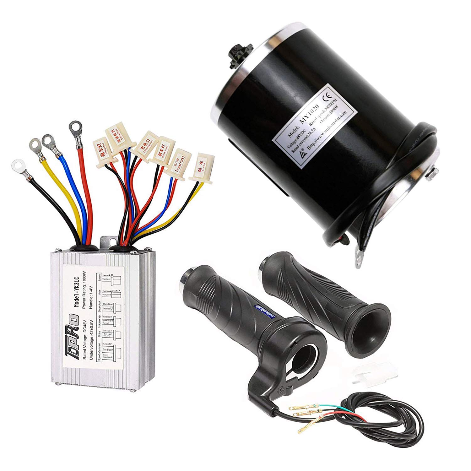 TDPRO 48V 1000W Brushed Speed Motor & Controller & Throttle Grip Kit for Electric Scooter Go Kart Bicycle e Bike Tricycle Moped by TDPRO