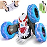 BEZGAR 24 Toy Grade 1:28 Scale Remote Control Car, 4WD Double Sided Rotating 360° Flips Electric Toy Stunt Cars RC Vehicle Tr