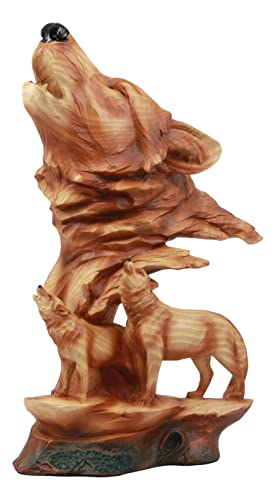 Ebros Faux Wood Three Howling Wolves Rocky Wildlife Scene Statue Decorative Lodge and Rustic Cabin Decor Sculptures and Figurines Wildlife Animal Wolves or Timberwolves Collectible Art Gifts