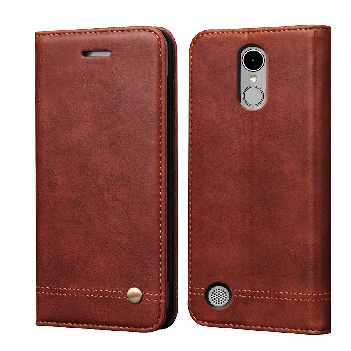 LG K20 V Case, LG K20 Plus Case,LG K10 2017 Case,LV V5 Case,LG Harmony Case, RUIHUI Flip Leather Protective Wallet Cover Case with Card Slots,Kickstand and Magnetic Closure (Brown)