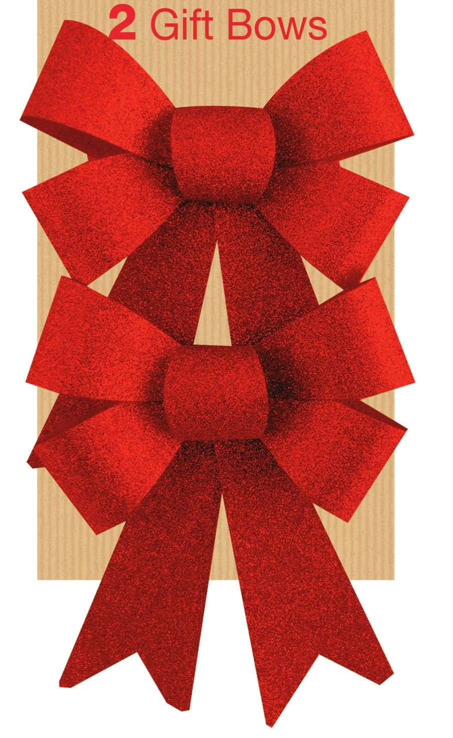2 Glitter Bows Red Christmas Decoration Present Family Celebration Christmas Tree Festive Birthday Wedding Wrapping Hampers Concept4u