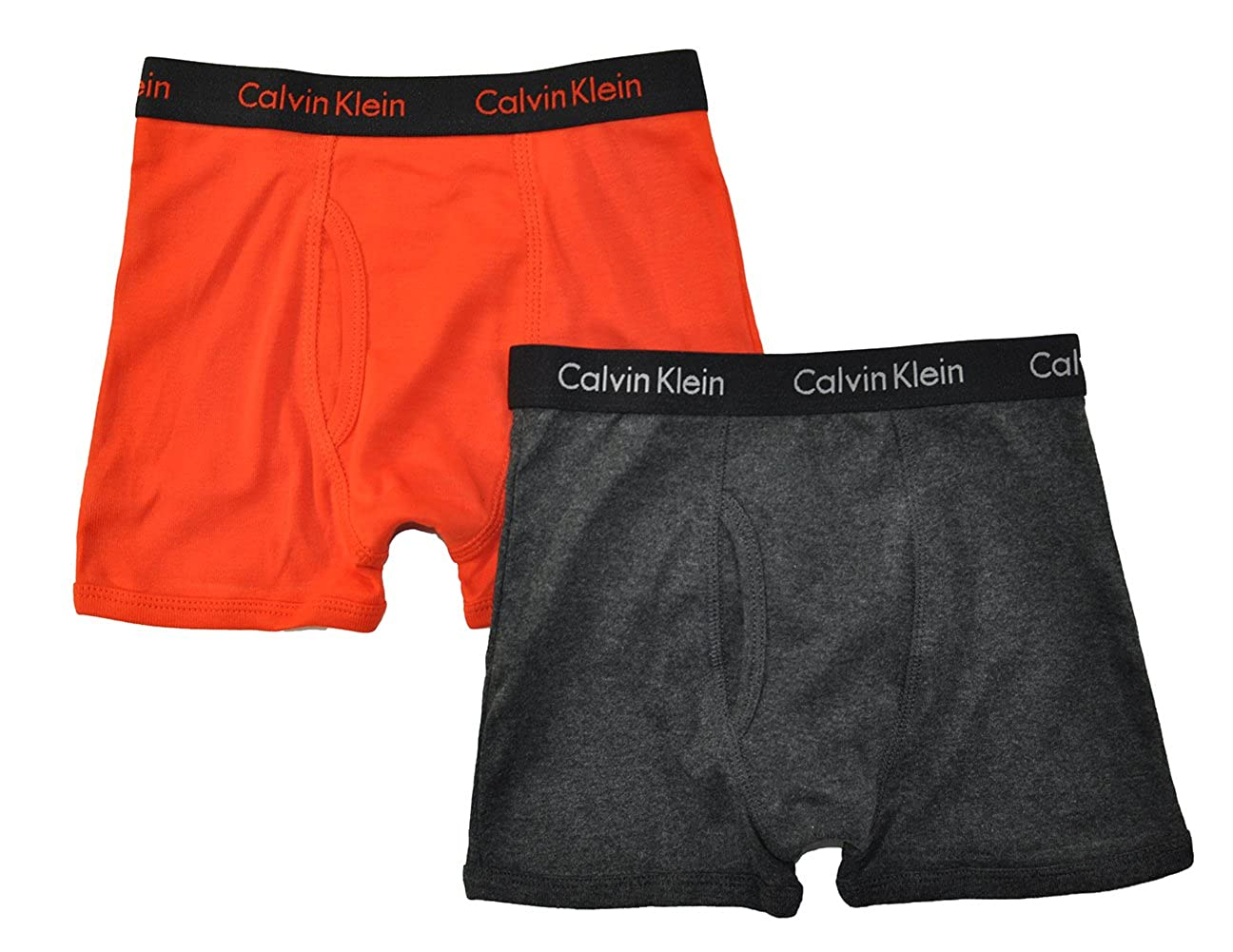 Calvin Klein Little/Big Boys' Assorted Boxer Briefs (Pack of 2) (X-Small / 4-5, Orange/Charcoal) 37D67173