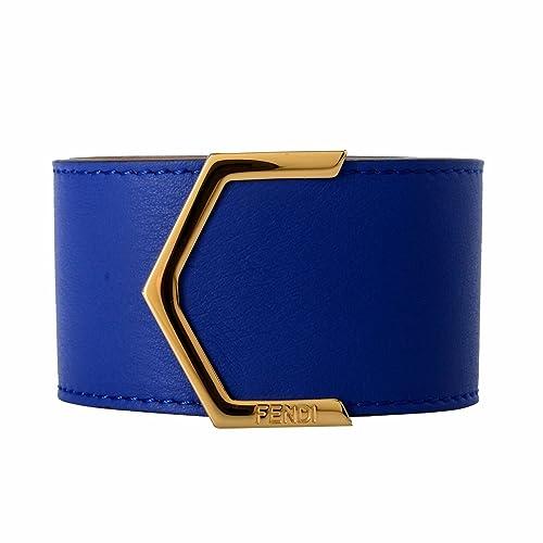 8a5a8406 Fendi 100% Leather Blue Button Closure Gold Tone Metal ...