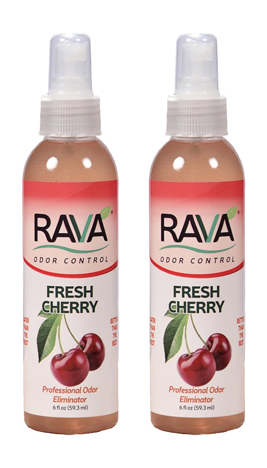 RAVA Odor Control. 99% Food Grade, Controls Dog and cat Urine Smell, Skunk Odor, Tobacco Smoke Weed Smoke Blunt smoke6oz Spray 2 Pack Fresh Cherry Fragrance